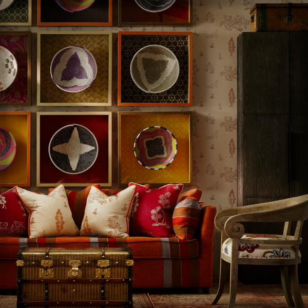 Friendly Folk Melon Orange and Huntsman Red Cushions Lifestyle