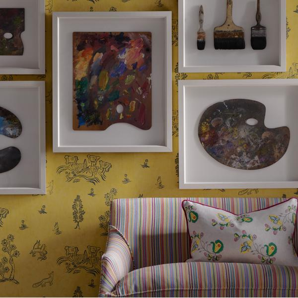 Wychwood_Provencal_Yellow_Wallpaper_with_Leto_sofa_upholstered_in_Talitha_Cocktail_Fabric_and_scatter_cushion_in_Psycho_Sprig_Tropical_Yellow_Fabric