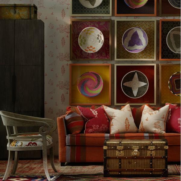 Bloomsbury_Sofa_in_Es_Cavalet_3_fabric_with_Friendly_Folk_Huntsman_Red_and_Melon_Orange_Cushions_and_Wychood_Huntsman_Red_Wallpaper