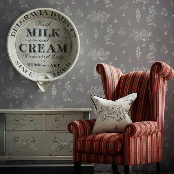 Winston_Chair_in_Cuchillas_Multi_Fabric_with_cushion_in_Friendly_Folk_Dusk_Fabric_and_Wychwood_Dusk_Wallpaper