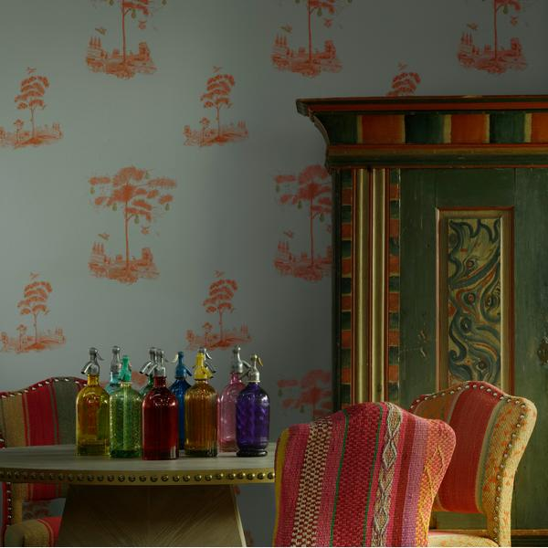 Pear_Tree_Sunset_Orange_Wallpaper_with_Faubourg_Dining_Table_and_Bespoke_Bacall_Chairs_in_Original_Guatlemalan_Textiles