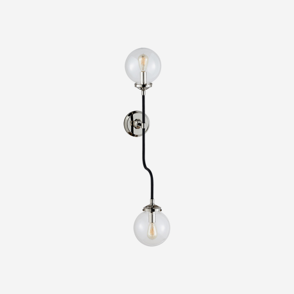 Bistro_Double_Wall_Light_in_Polished_Nickel_with_Clear_Glass