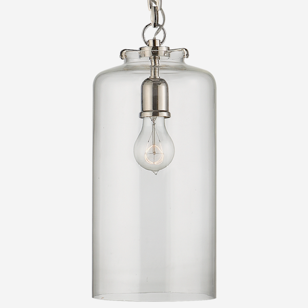 Katie_Cylinder_Pendant_in_Polished_Nickel_with_Clear_Glass