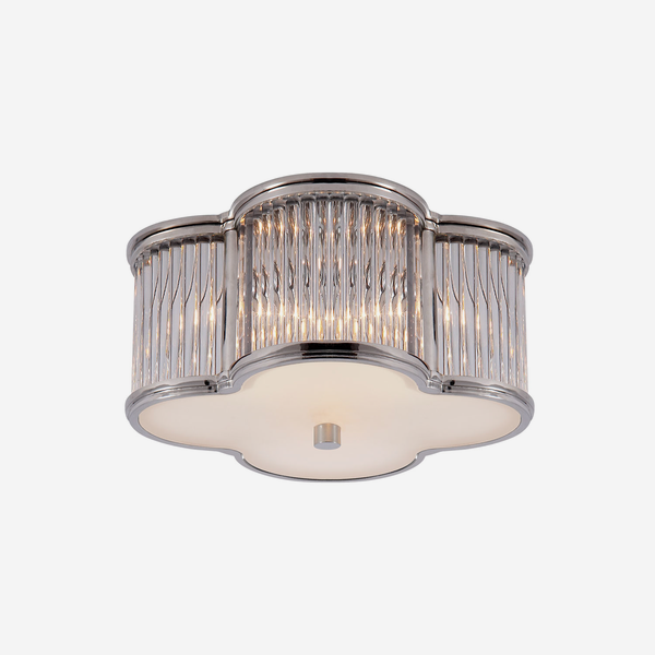 Basil_Small_Ceiling_Light_in_Polished_Nickel_and_Clear_Glass_Rods_with_Frosted_Glass