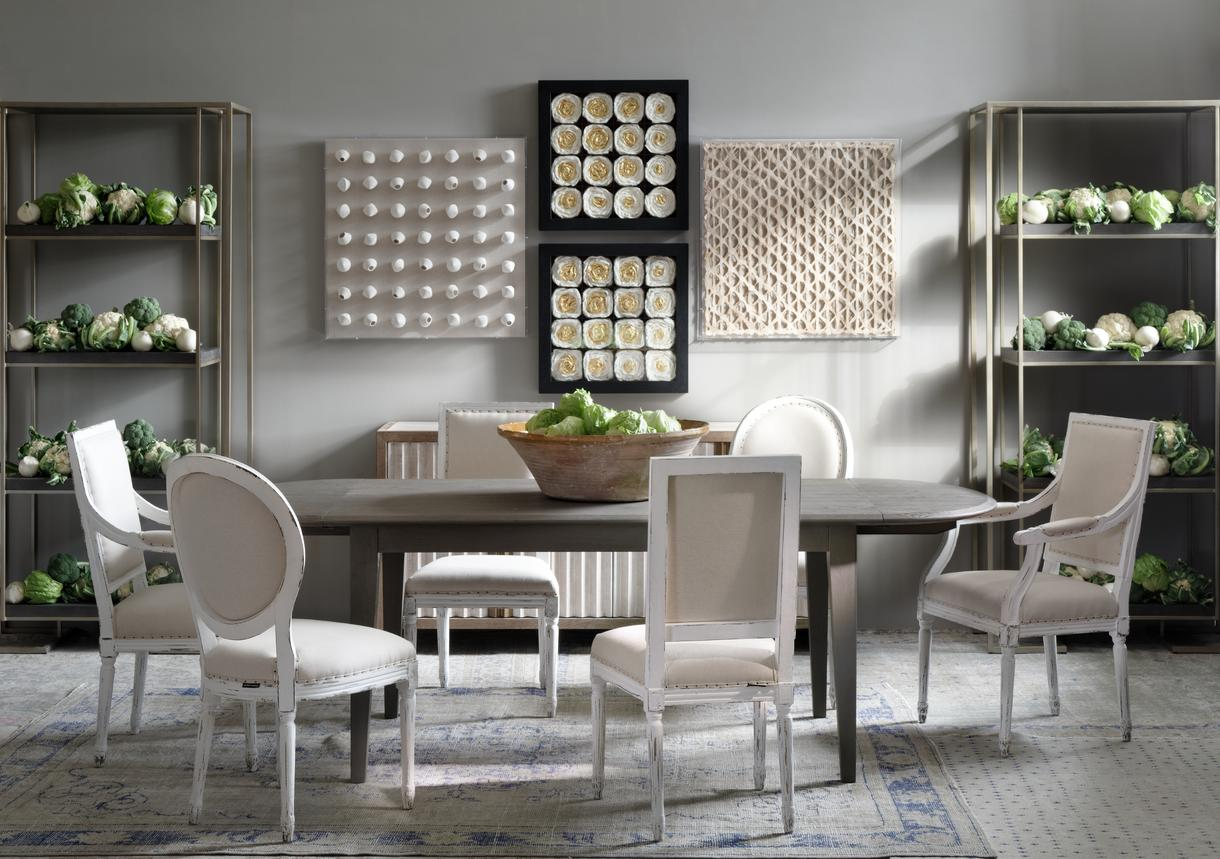 Perplex display units, Etta sideboard, Florian dining table, Giselle, Coralie and Eloise dining chairs