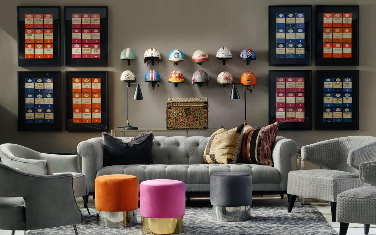 Fiorella_3_seater_Sofa_with_Vince_Charcoal_with_Guinea_Trim_Wilder_Chairs_Eaves_Chairs_Chandler_Stools_in_Orange_Pink_and_Grey_Perplex_Console_Table_and_Krisp_Desk_Lamp
