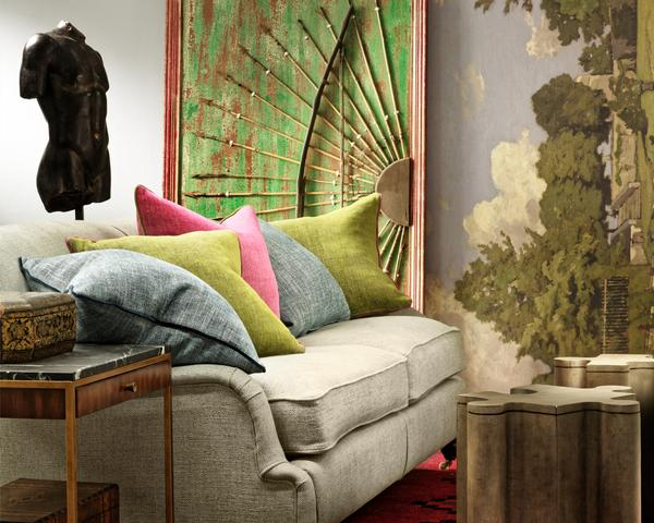 Montague_Sofa_upholstered_in_Paraggi_Muscari_with_scatter_cushions_in_Palazzo_Parasol_Moss_and_Teal_with_Rufus_Side_Table