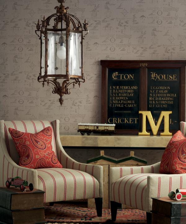Pythagoras_Taupe_Wallpaper_Milton_Chairs_in_Creel_Rust_with_Cushions_in_Fenton_Red_Lifestyle