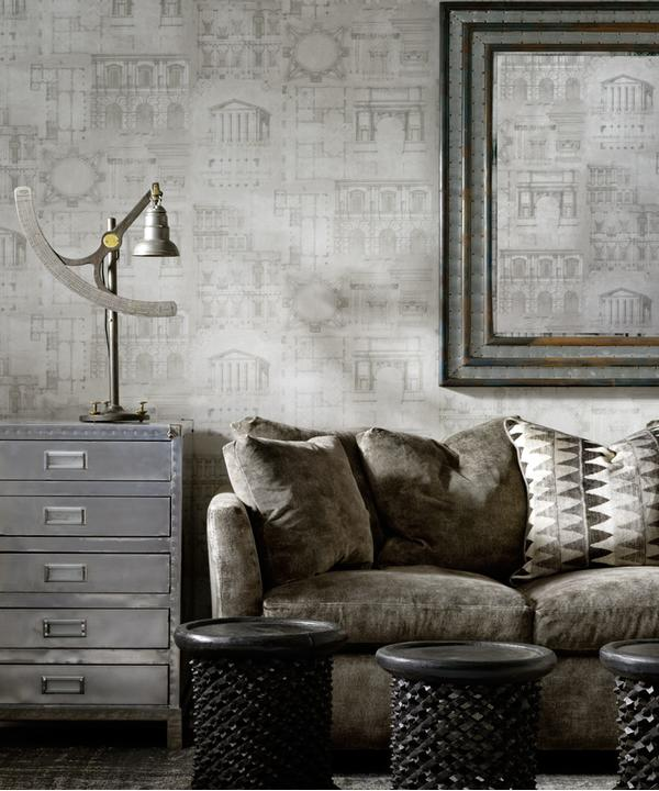 andrew_martin_augustus_wallpaper_and_ladder_charcoal_fabric_cushion_on_gable_charcoal_upholstered_bloomsbury_sofa