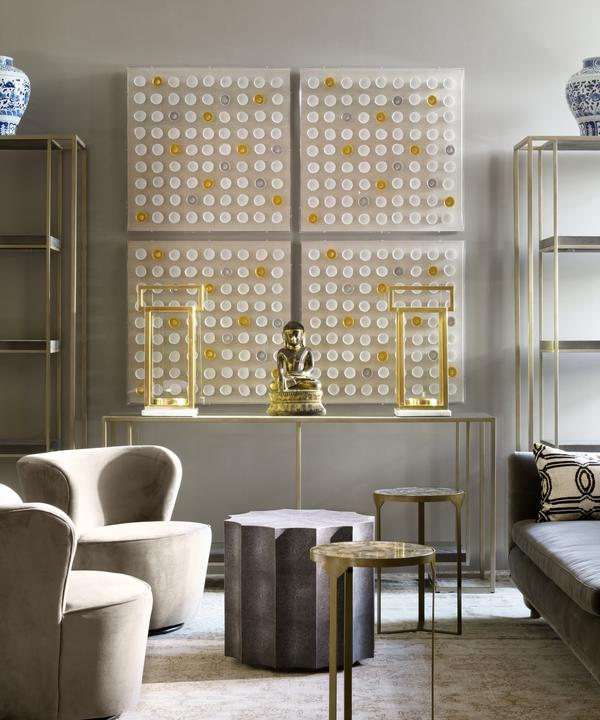 Mixed Materials Neutral Interior with Gold Detailing