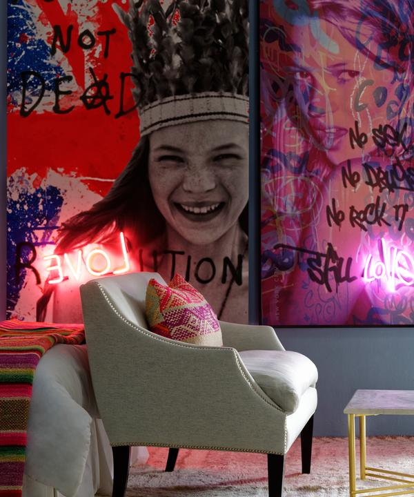Leto sofa in Wessex Powder with Felix coffee table and Kate Moss neon artwork