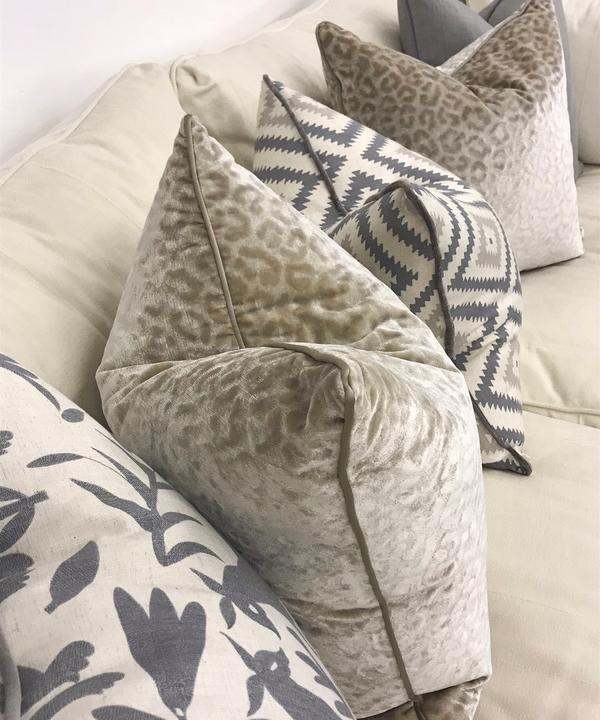 Cushions on display at the Outlet