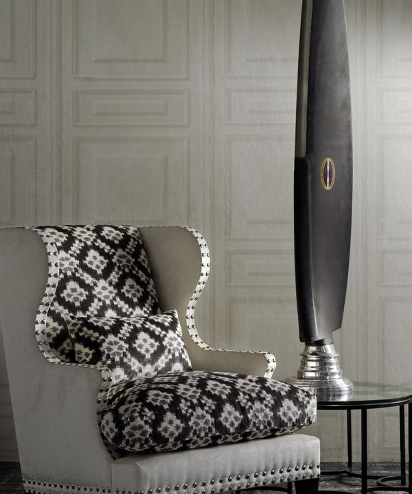 Fleming_Chair_in_Ovington_White_Frame_and_Sketch_Charcoal_Inside_Back_and_Seat_Fabric_Trianon_White_Wallpaper_Lifestyle