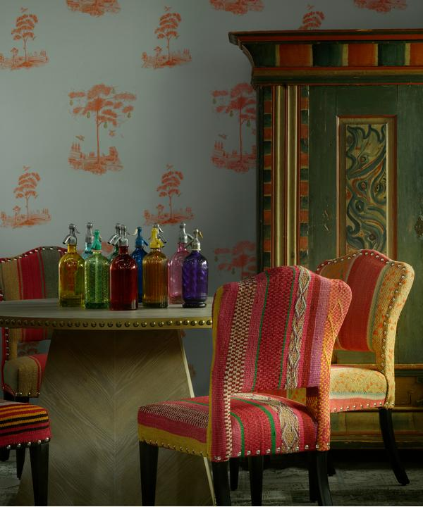 Pear Tree Sunset Orange Wallpaper with Faubourg Dining Table and Bespoke Bacall Chairs in Original Guatemalan Textiles