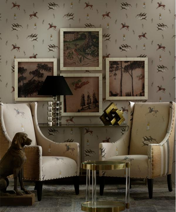 Apache Sienna Wallpaper with Pluto Chairs upholstered in Great Plains Fabric