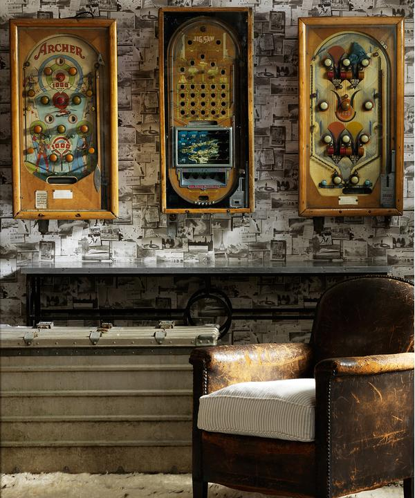 Pinboard Charcoal Wallpaper with Battered Leather Armchair