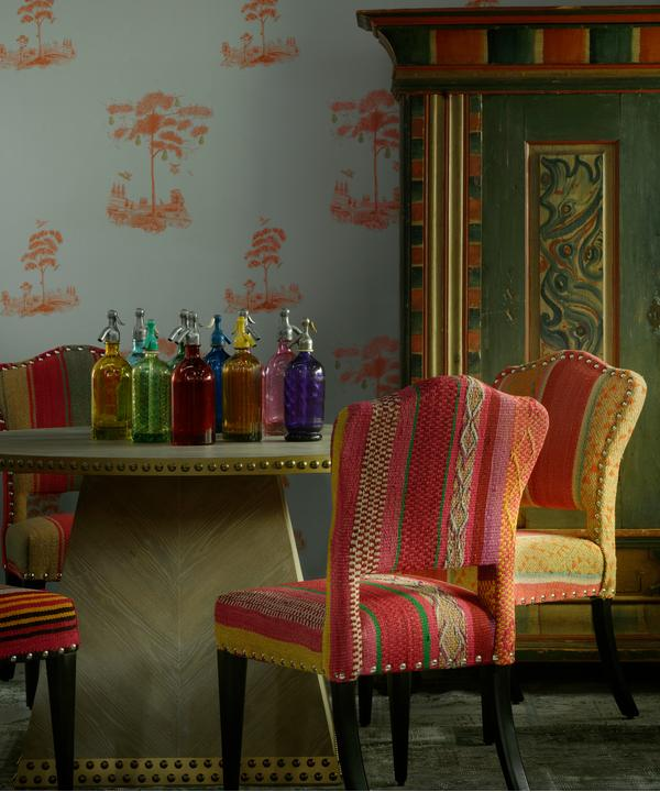 Pear Tree Sunset Orange Wallpaper with Faubourg Dining Table and Bespoke Bacall Chairs in Original Andean Textiles