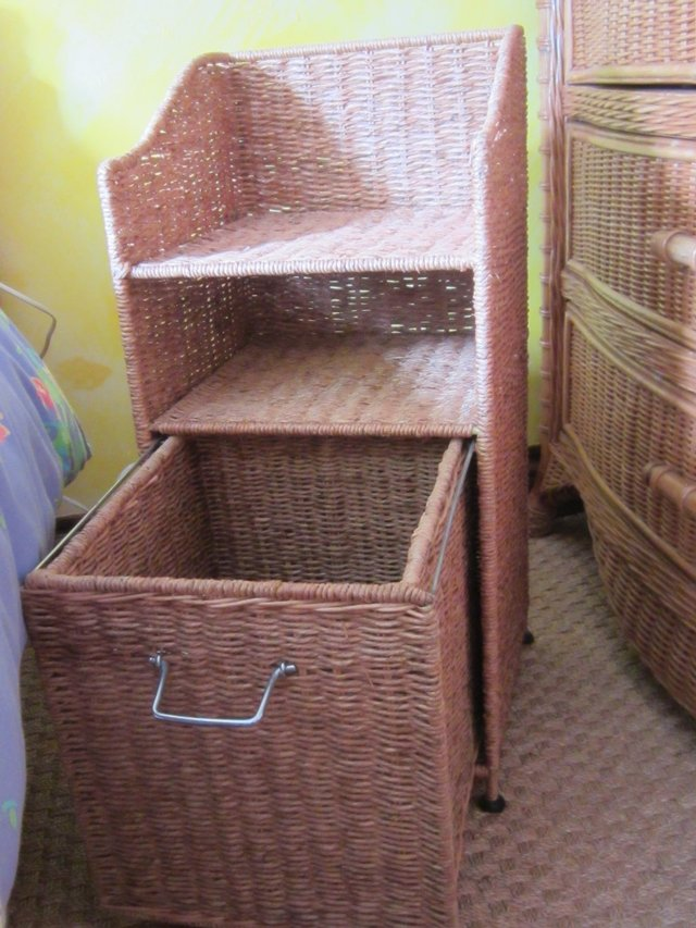 Two identical wicker good quality bedside tables for sale each with shelf  and pull out cupboard underneath. These have only been used in a guest  bedroom so ...