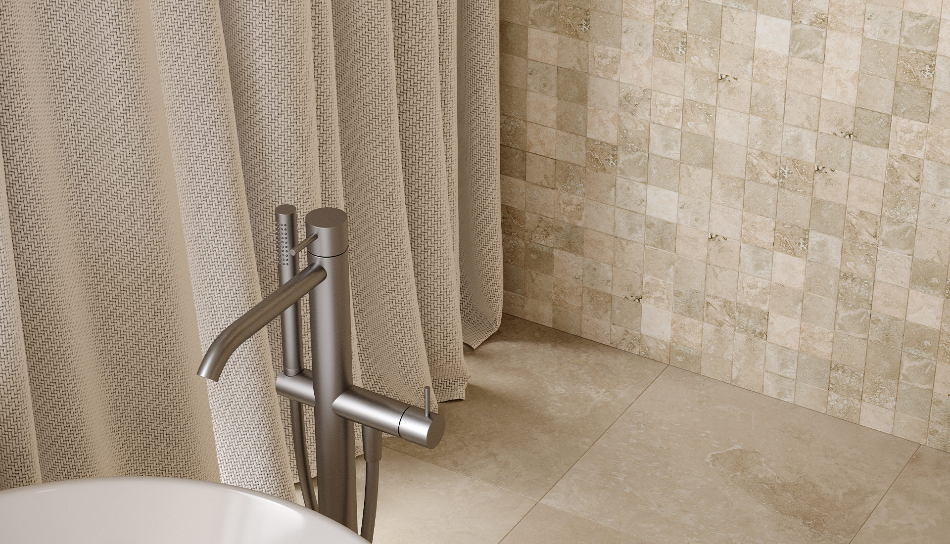 2 x 2 in / 5 x 5 cm Ivory Filled & Honed Travertine Mosaic