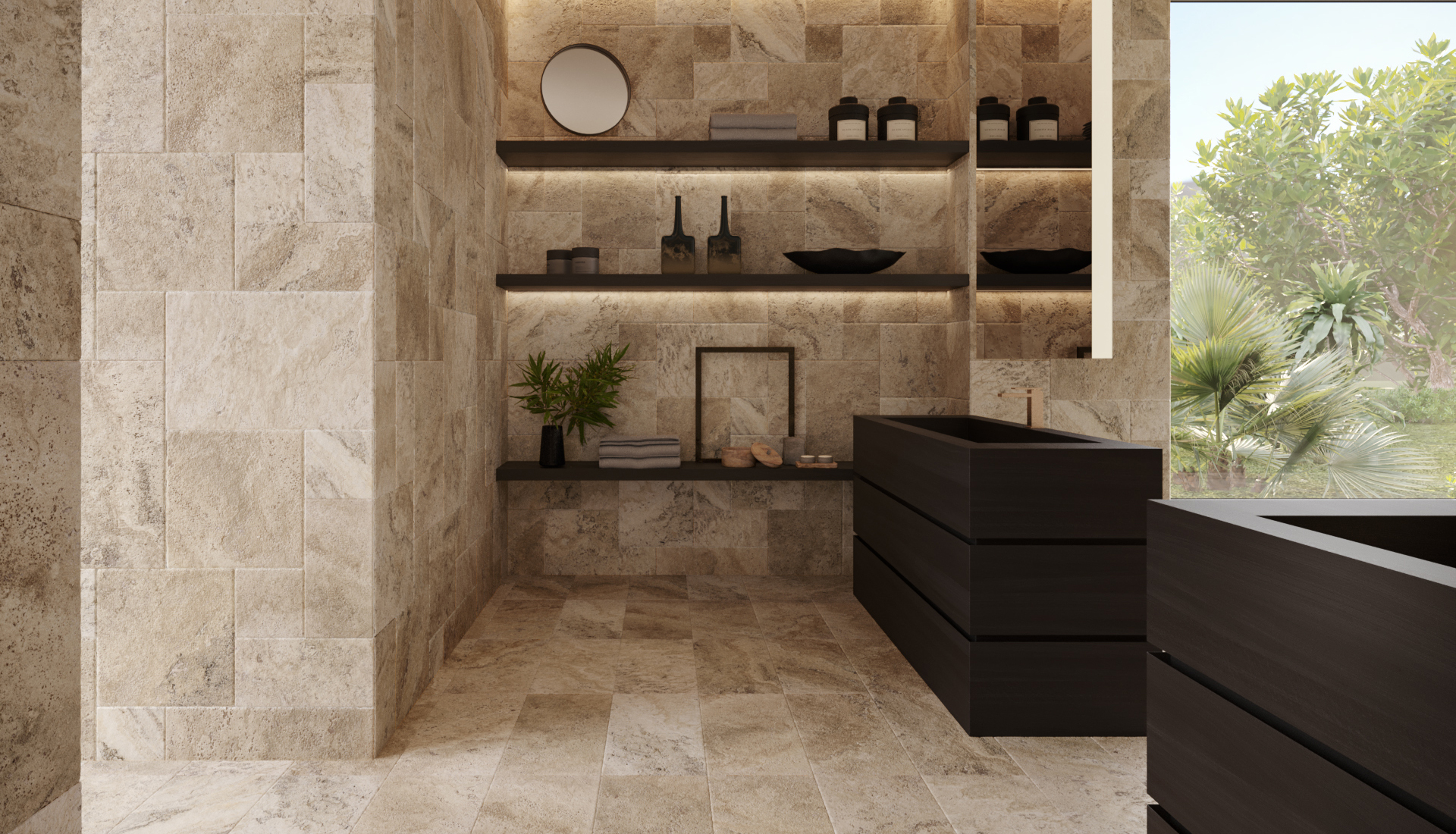 12 x 24 in / 30.5 x 61 cm Picasso Filled & Honed Travertine Tile