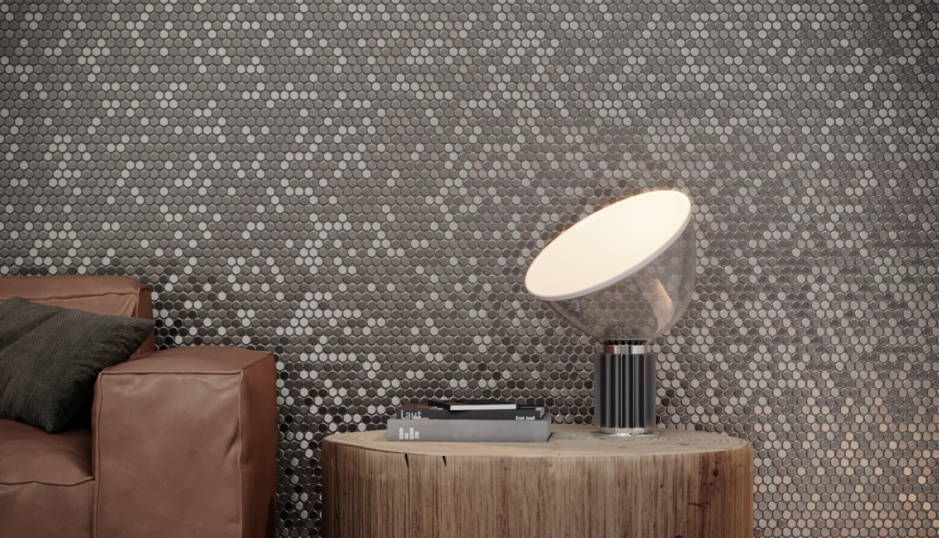 Penny Round Glossy Stainless Steel Mosaic