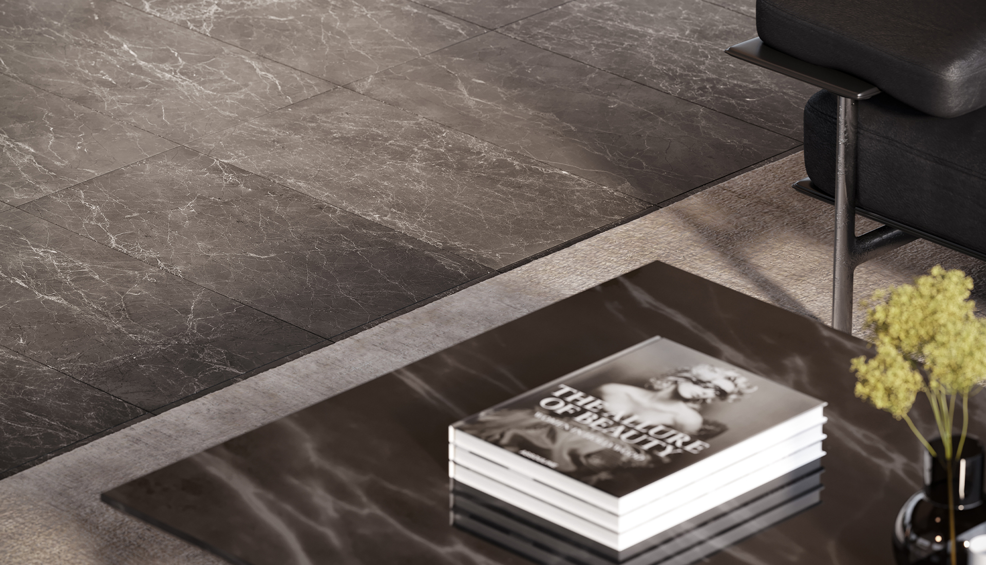 12 x 24 in / 30.5 x 61 cm Stark Carbon Polished Marble Tile