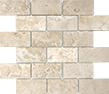 Ivory 2 x 4 in / 5 x 10 cm Brick Mosaic Filled & Honed