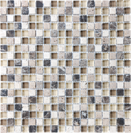 Glass + Stone Blend Mosaics Cappuccino 5/8 x 5/8 in / 1.6 x 1.6 cm Mosaic