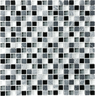 Glass + Stone Blend Mosaics Midnight 5/8 x 5/8 in / 1.6 x 1.6 cm Mosaic