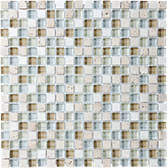 Glass + Stone Blend Mosaics Spa 5/8 x 5/8 in / 1.6 x 1.6 cm Mosaic