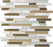 Glass + Stone Blend Mosaics Bamboo Random Strip Mosaic
