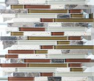 Glass + Stone Blend Mosaics Cabernet Random Strip Mosaic