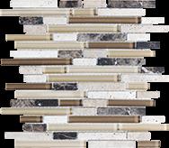 Glass + Stone Blend Mosaics Cappuccino Random Strip Mosaic