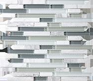 Glass + Stone Blend Mosaics Iceland Random Strip Mosaic