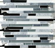 Glass + Stone Blend Mosaics Midnight Random Strip Mosaic