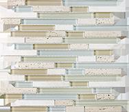 Glass + Stone Blend Mosaics Spa Random Strip Mosaic