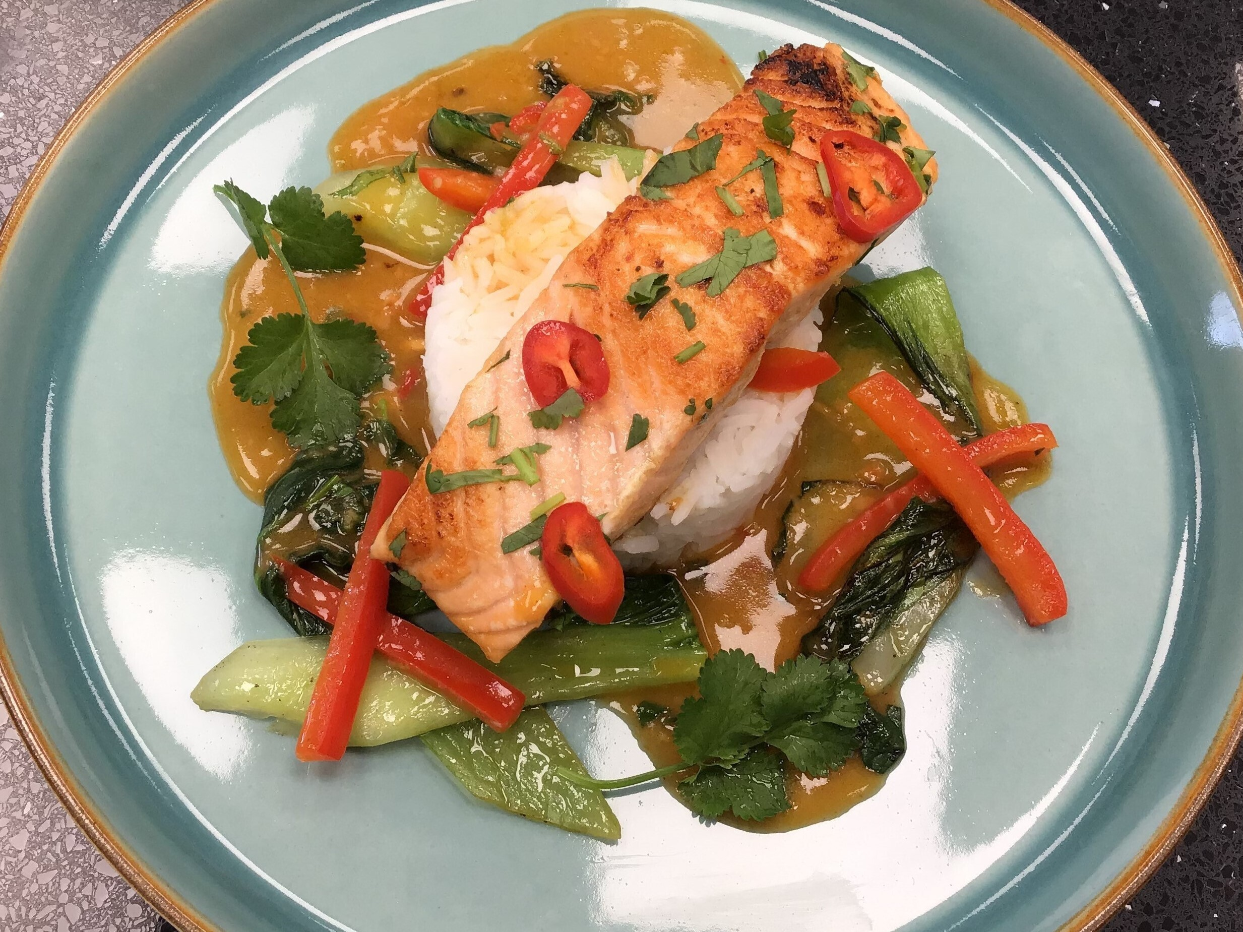 Salmon in a Spicy Chilli, Coconut & Lime Sauce