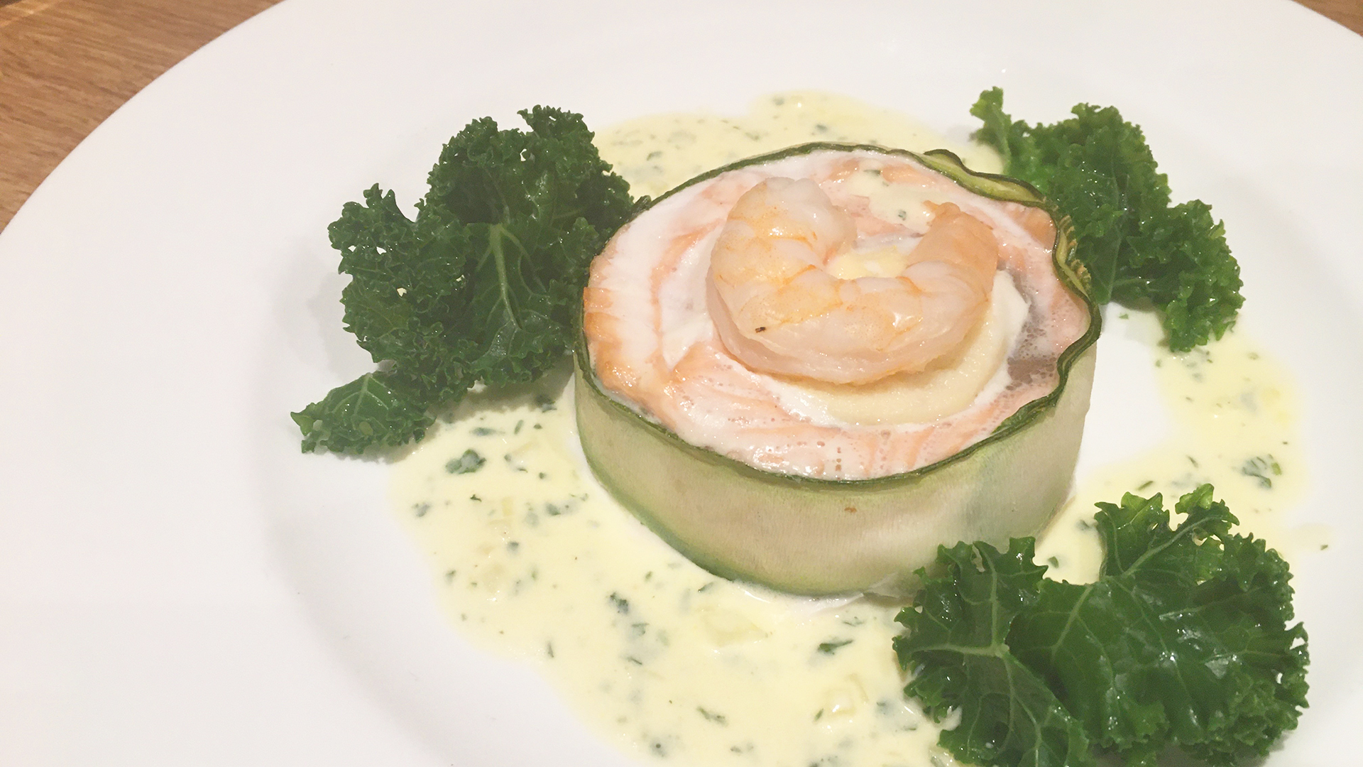 Salmon with Lemon Sole Mousse & King Prawn