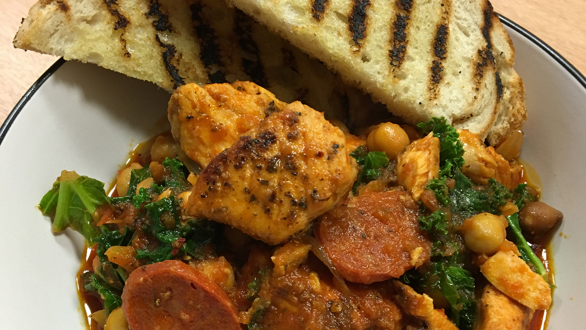 Spicy Salmon, Chickpea, Chorizo & Kale Stew