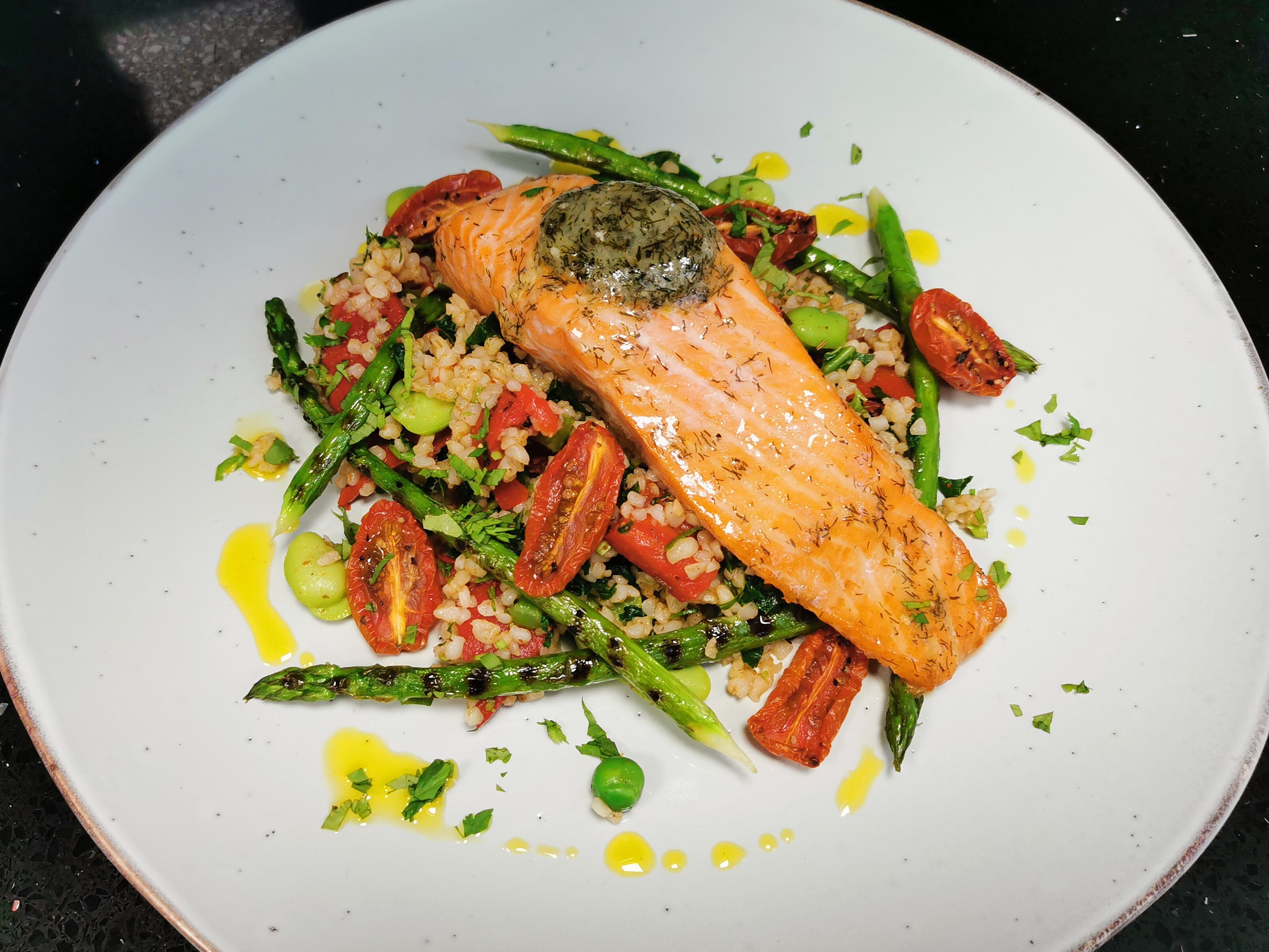 Trout with Lemon & Dill Butter with Bulgur Wheat Salad