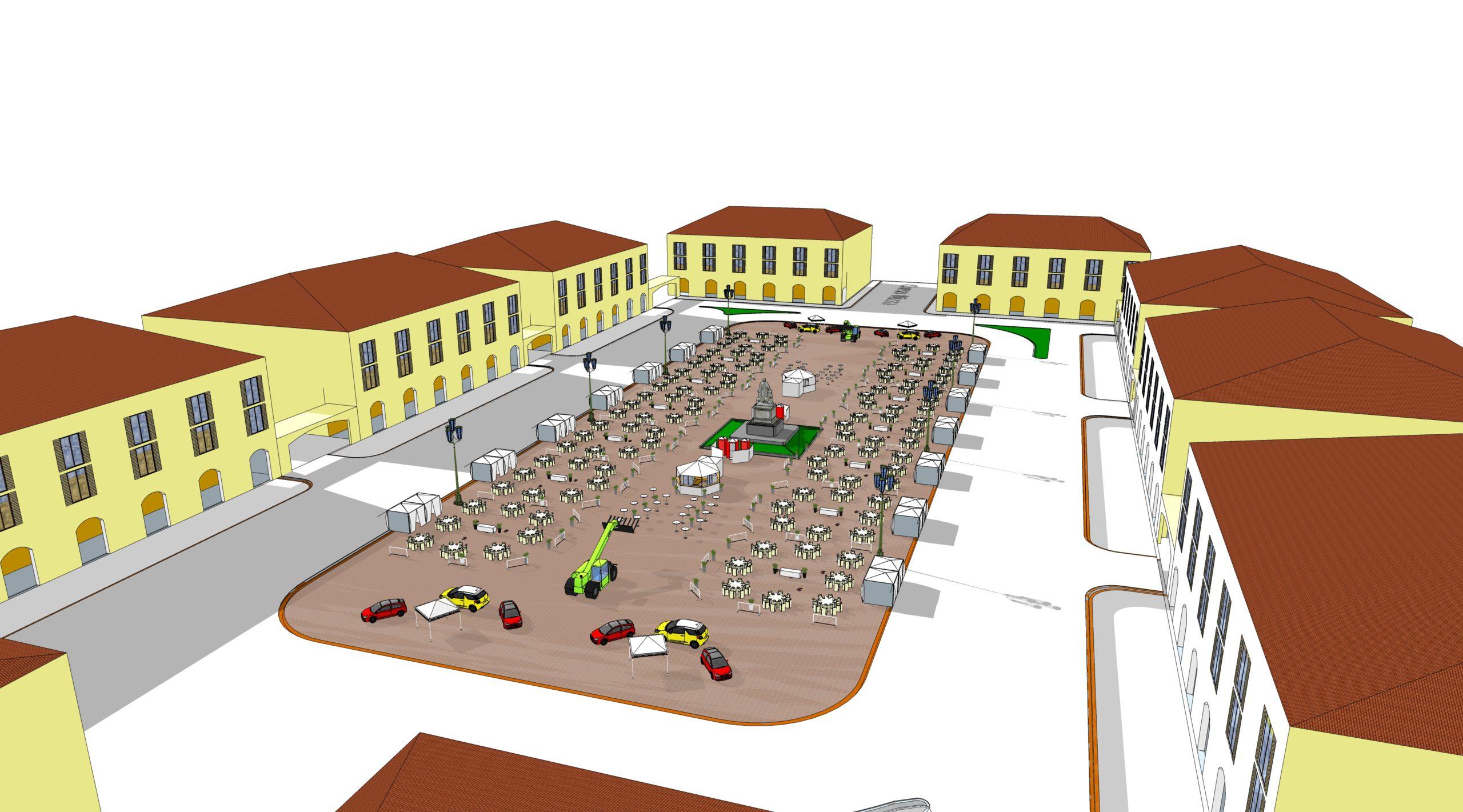 Un rendering dell'allestimento di piazza Galimberti, teatro de Il Salotto delle Stelle organizzato dalla Sidevents