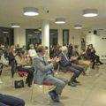 L'intervento del presidente, Livio Tomatis, apre uno dei momenti di consegna delle borse di studio 2020 della Banca di Caraglio