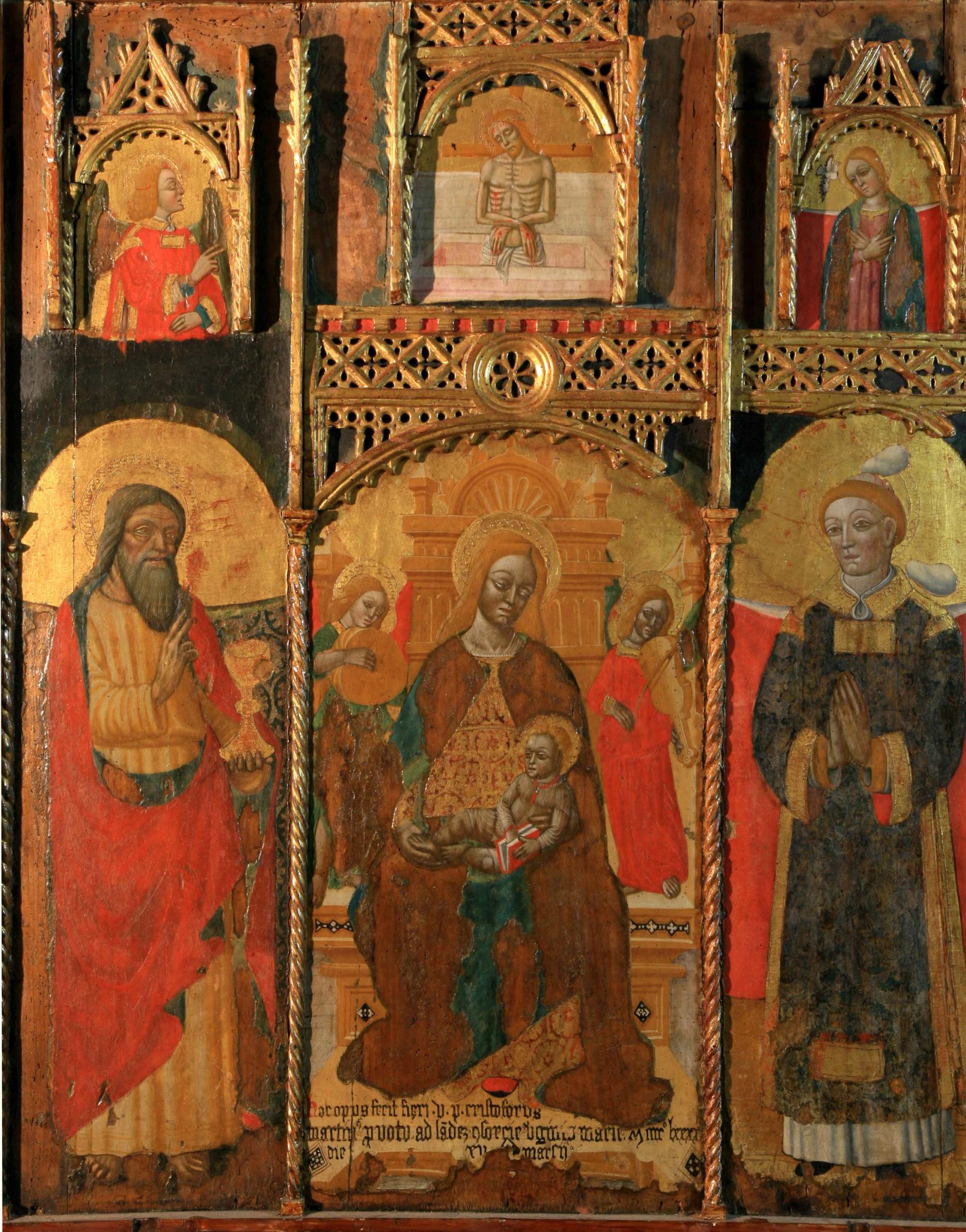 Pietro Guidi, Madonna con Bambino fra San Giovanni Evangelista e Santo Stefano, seconda metà del XV secolo, tempera su tavola di pioppo - Genova, Museo Sant'Agostino