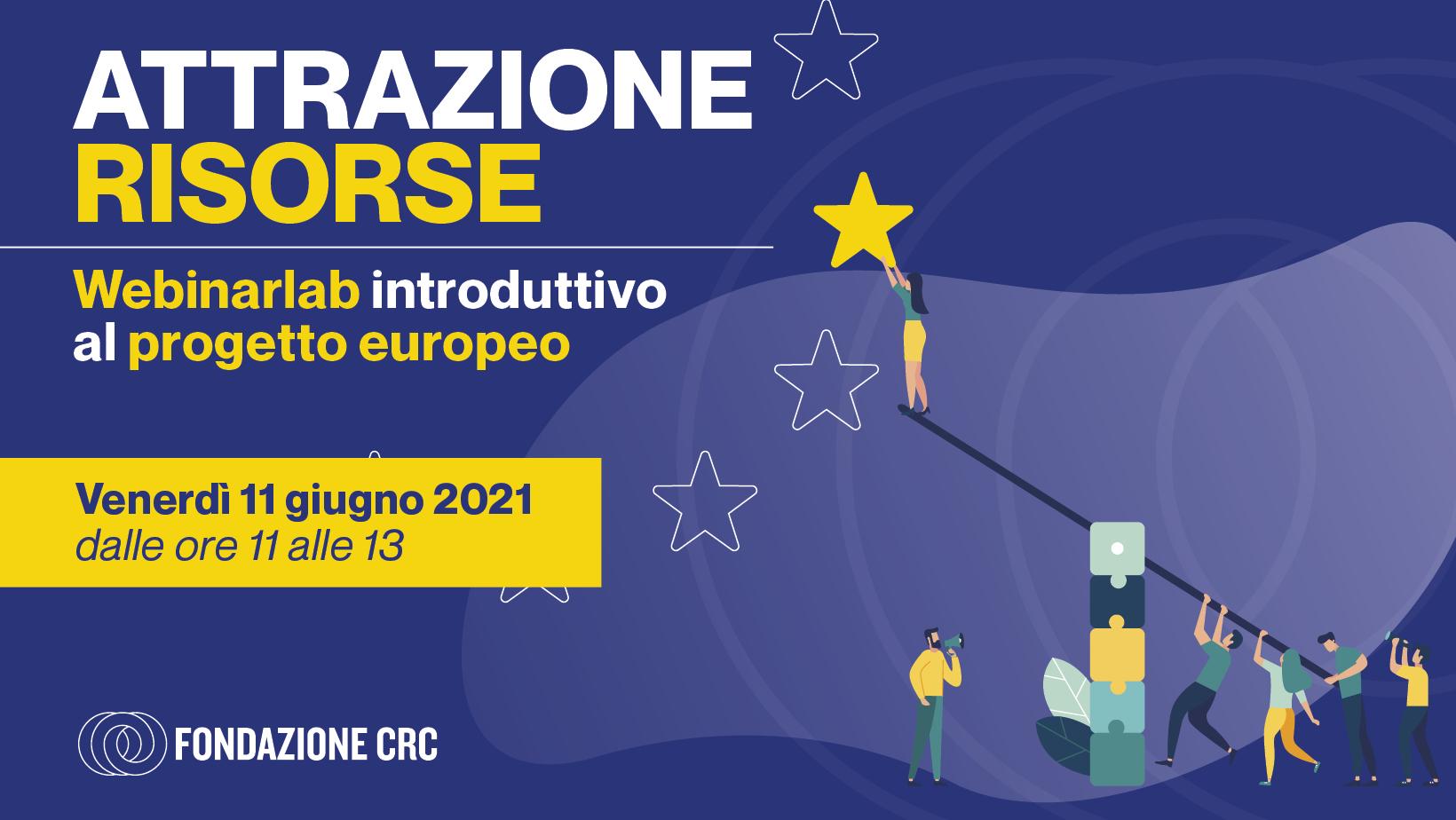 Il progetto europeo: venerdì 11 giugno 2021 alle ore 11 un laboratorio di alfabetizzazione alla progettazione europea