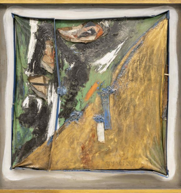 Composizione polimaterica, 1961, tecnica mista su tela, 85x85 cm © Archivio Simondo - Torino