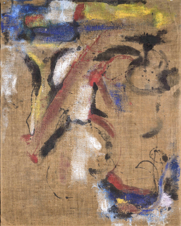 Tela Juta, 1960, nitro su tela, 122x96 cm © Archivio Simondo - Torino