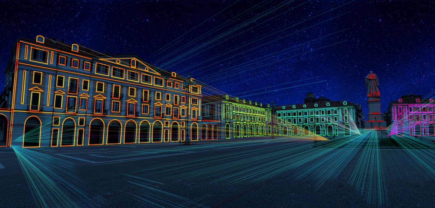 Una delle dieci videoinstallazioni luminose di Cuneo Provincia Futura sarà in piazza Galimberti a Cuneo
