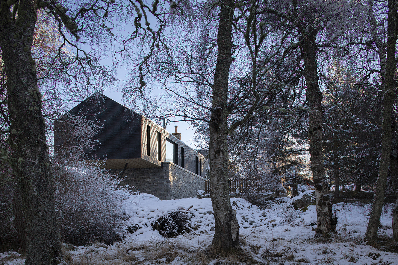 Lower Tullochgrue in Cairngorms Aberdeenshire by Brown & Brown Architects 005 — view of exterior from woodland, Rothiemurchus