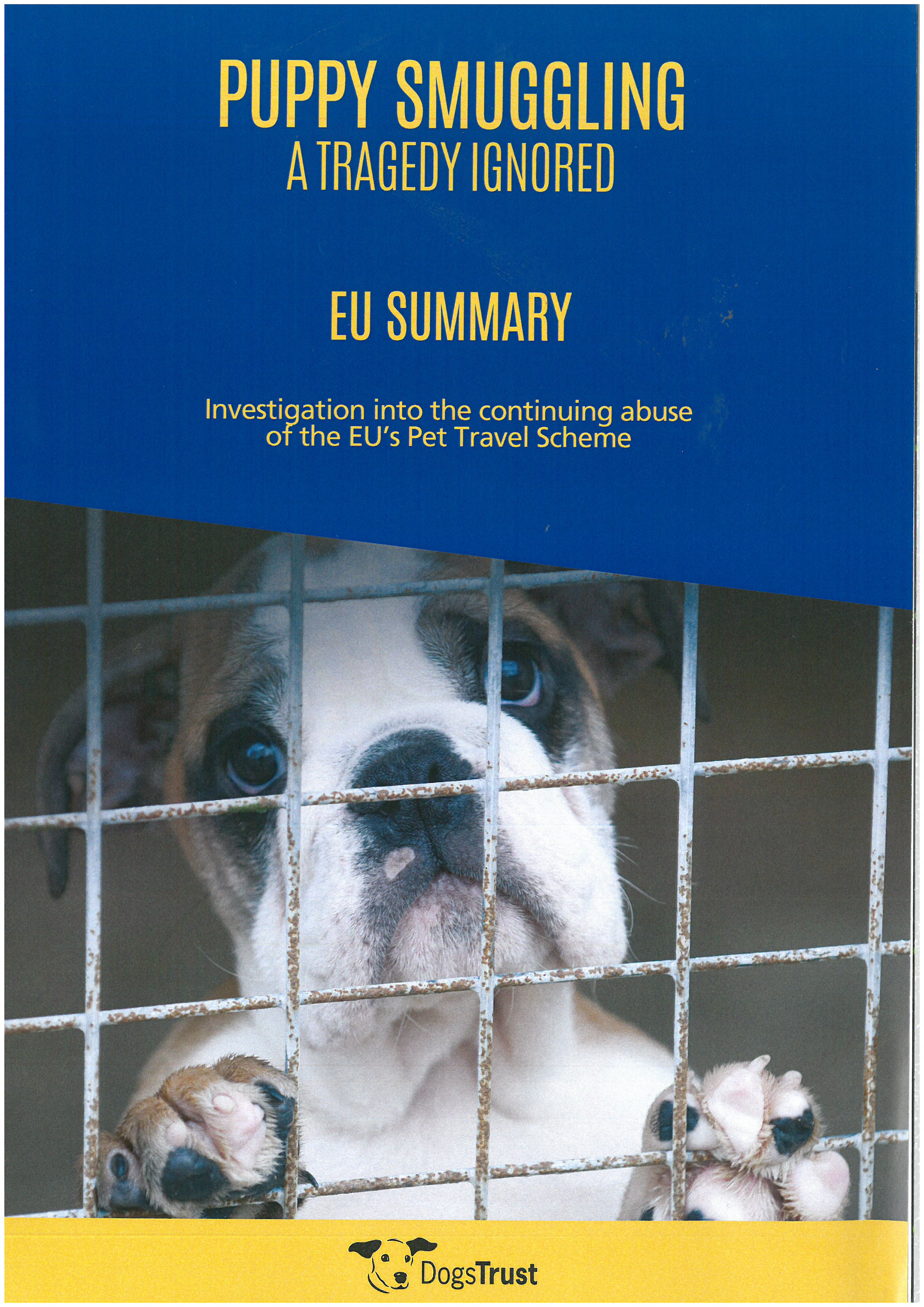 """EU Summary of """"Puppy Smuggling: A Tragedy Ignored"""""""