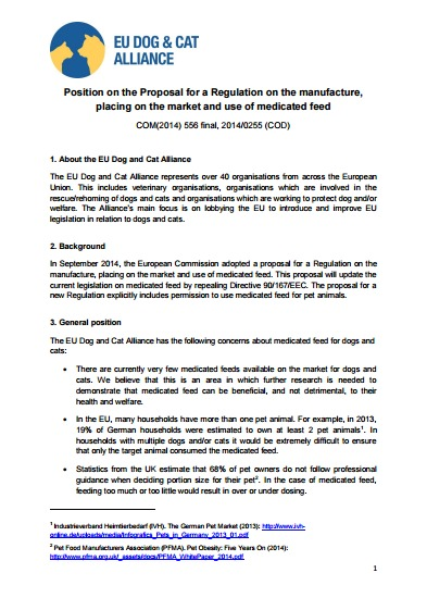 Position paper on the proposed Regulation on Veterinary Medicinal Products